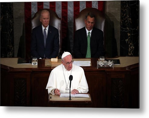 People Metal Print featuring the photograph Pope Francis Addresses Joint Meeting Of U.S. Congress by Mark Wilson