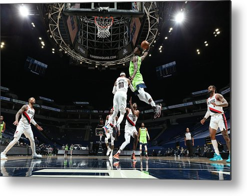 Nba Pro Basketball Metal Print featuring the photograph Portland Trail Blazers v Minnesota Timberwolves by David Sherman