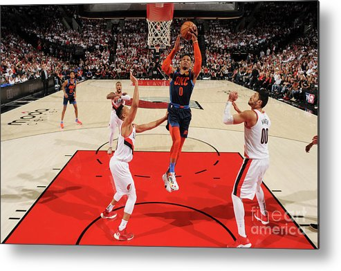 Playoffs Metal Print featuring the photograph Russell Westbrook by Cameron Browne