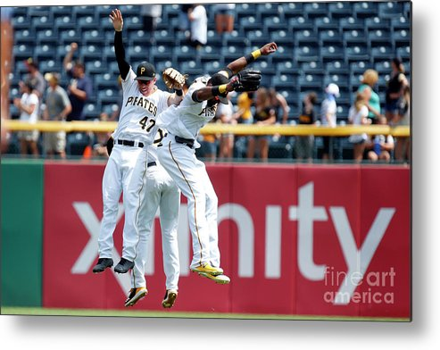 People Metal Print featuring the photograph Starling Marte and Gregory Polanco by Justin K. Aller
