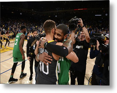 Nba Pro Basketball Metal Print featuring the photograph Stephen Curry and Kyrie Irving by Noah Graham