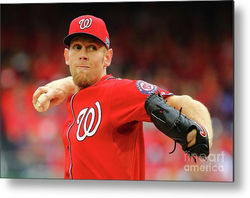 Stephen Strasburg Metal Print featuring the photograph Stephen Strasburg by Al Bello
