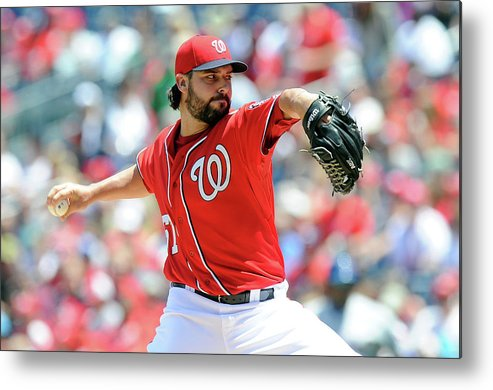 American League Baseball Metal Print featuring the photograph Tanner Roark by Greg Fiume