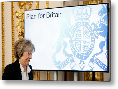 Theresa May Metal Print featuring the photograph The British Prime Minister Delivers Her Brexit Speech by WPA Pool