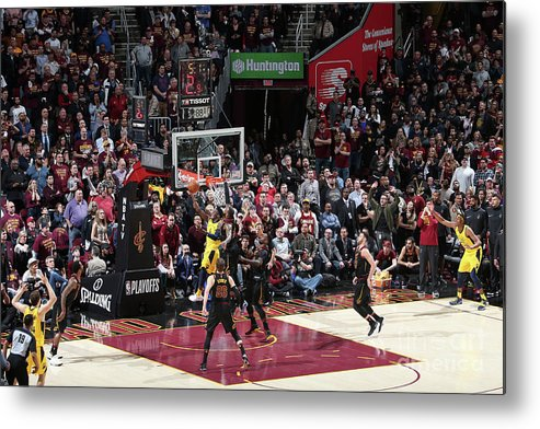 Playoffs Metal Print featuring the photograph Victor Oladipo and Lebron James by Nathaniel S. Butler