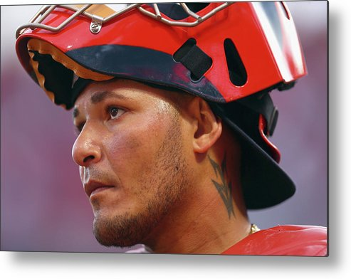 Great American Ball Park Metal Print featuring the photograph Yadier Molina by Andy Lyons