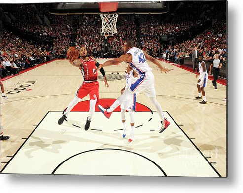 Nba Pro Basketball Metal Print featuring the photograph Damian Lillard by Cameron Browne