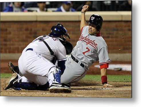 Home Base Metal Print featuring the photograph Washington Nationals v New York Mets by Jim McIsaac