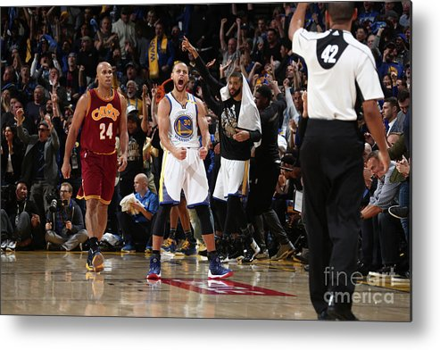 Nba Pro Basketball Metal Print featuring the photograph Stephen Curry by Nathaniel S. Butler