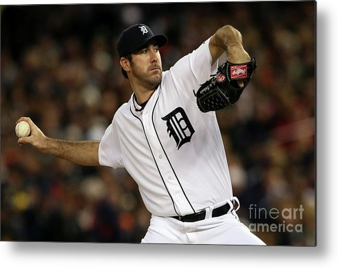 American League Baseball Metal Print featuring the photograph Justin Verlander by Leon Halip