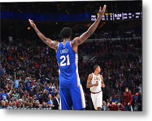 Crowd Metal Print featuring the photograph Joel Embiid by Jesse D. Garrabrant