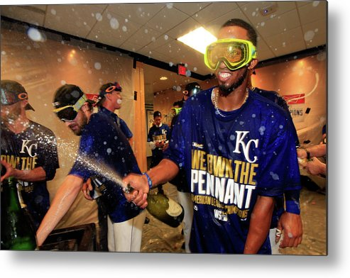 American League Baseball Metal Print featuring the photograph Alcides Escobar by Jamie Squire