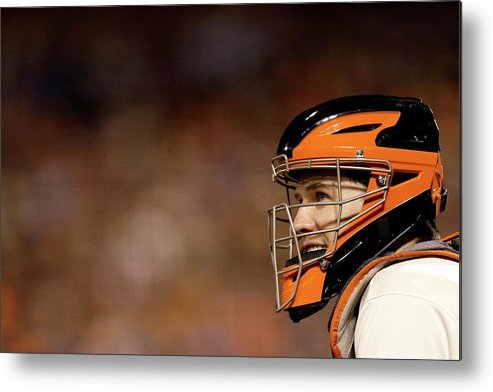 Buster Posey Metal Print featuring the photograph Buster Posey by Ezra Shaw