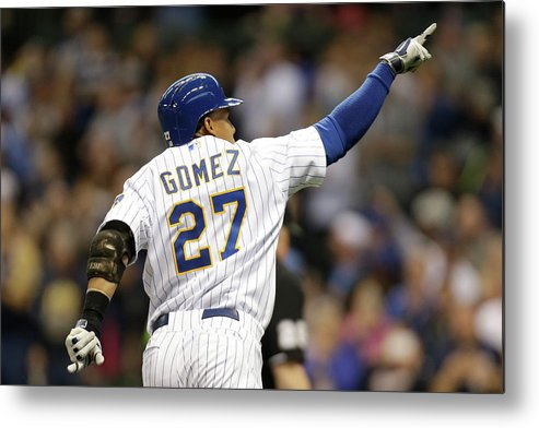 Wisconsin Metal Print featuring the photograph Carlos Gomez by Mike Mcginnis