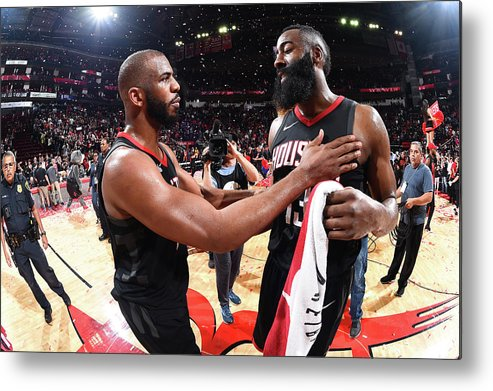 Playoffs Metal Print featuring the photograph Chris Paul and James Harden by Andrew D. Bernstein
