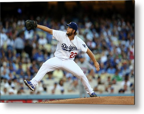 People Metal Print featuring the photograph Clayton Kershaw by Stephen Dunn