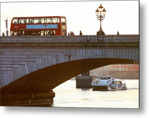 England Metal Print featuring the photograph Commuters Use New High-Speed Catamaran Clippers Operated By MBNA Thames Clippers by Bloomberg