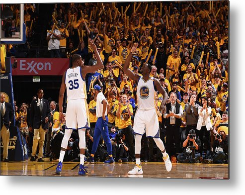 Playoffs Metal Print featuring the photograph Draymond Green and Kevin Durant by Noah Graham