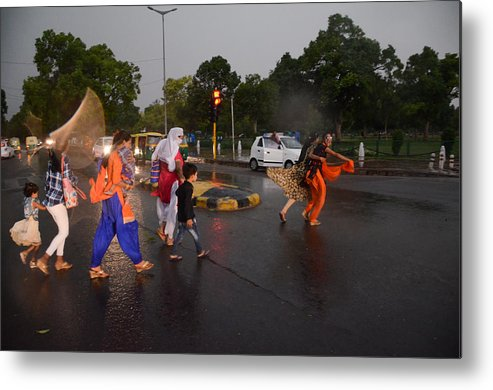 Wind Metal Print featuring the photograph Dust Storm In Delhi by NurPhoto