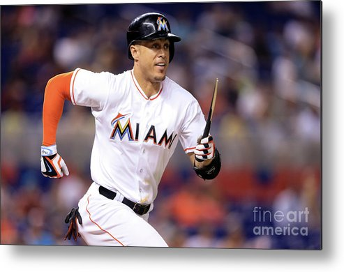 Three Quarter Length Metal Print featuring the photograph Giancarlo Stanton by Rob Foldy