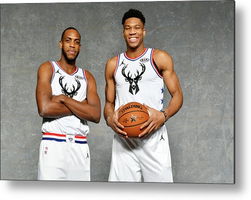 Nba Pro Basketball Metal Print featuring the photograph Giannis Antetokounmpo and Khris Middleton by Jesse D. Garrabrant