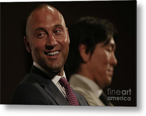 People Metal Print featuring the photograph Hideki Matsui and Derek Jeter by Chris Mcgrath