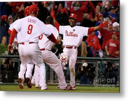 Playoffs Metal Print featuring the photograph Jimmy Rollins by Nick Laham