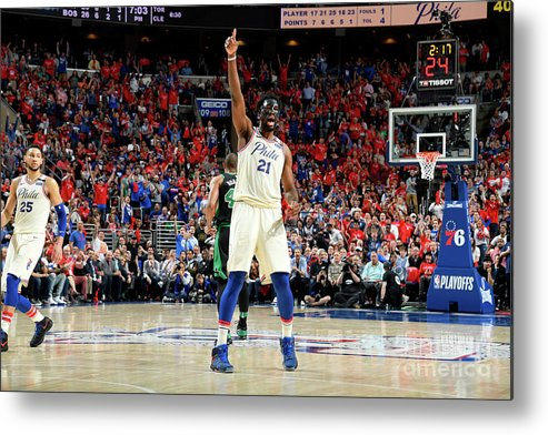 Playoffs Metal Print featuring the photograph Joel Embiid by Brian Babineau