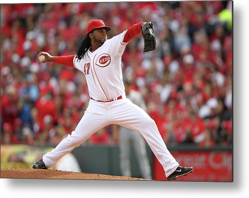 Great American Ball Park Metal Print featuring the photograph Johnny Cueto by John Grieshop