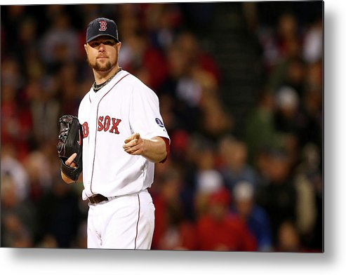 American League Baseball Metal Print featuring the photograph Jon Lester by Elsa
