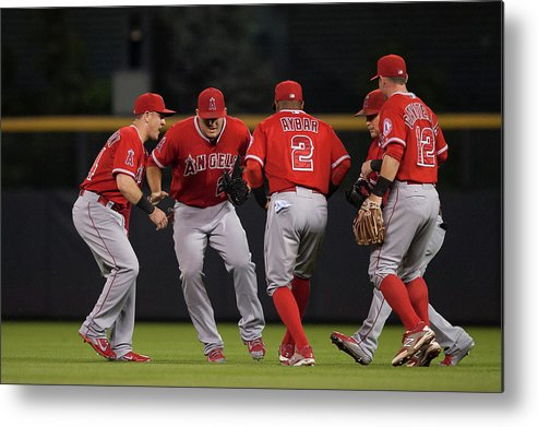 People Metal Print featuring the photograph Los Angeles Angels Of Anaheim V by Dustin Bradford