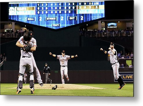People Metal Print featuring the photograph Madison Bumgarner and Buster Posey by Jamie Squire