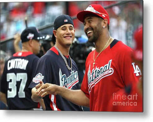 People Metal Print featuring the photograph Manny Machado and Matt Kemp by Patrick Smith