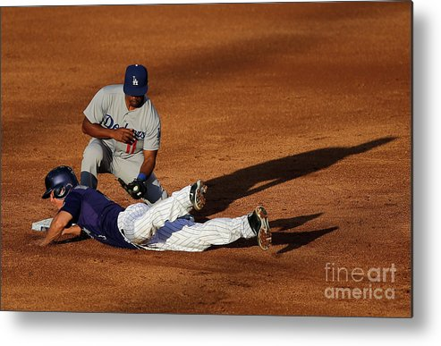 Game Two Metal Print featuring the photograph Nick Hundley and Jimmy Rollins by Doug Pensinger