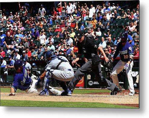 Baseball Catcher Metal Print featuring the photograph Paul Goldschmidt and Austin Barnes by Christian Petersen