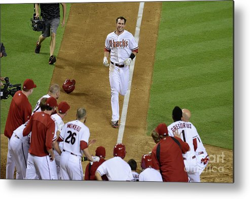 American League Baseball Metal Print featuring the photograph Paul Goldschmidt by Norm Hall