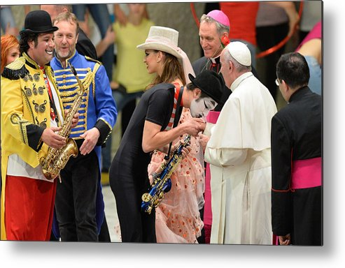 State Of The Vatican City Metal Print featuring the photograph Pope Francis celebrates the Jubilee of the 'World of Travelling Shows' by NurPhoto