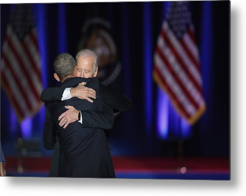 People Metal Print featuring the photograph President Obama Delivers Farewell Address In Chicago by Scott Olson