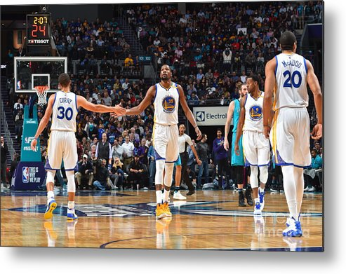 Nba Pro Basketball Metal Print featuring the photograph Stephen Curry and Kevin Durant by Jesse D. Garrabrant