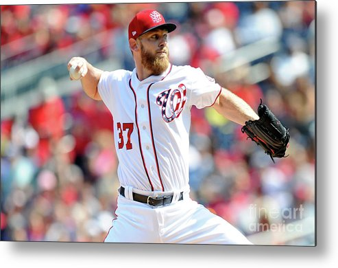 Three Quarter Length Metal Print featuring the photograph Stephen Strasburg by Greg Fiume