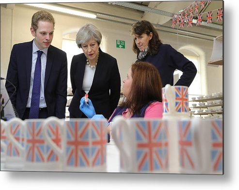 Democracy Metal Print featuring the photograph Theresa May Visits Stoke-On-Trent Central Ahead Of Thursday's By-election by Christopher Furlong