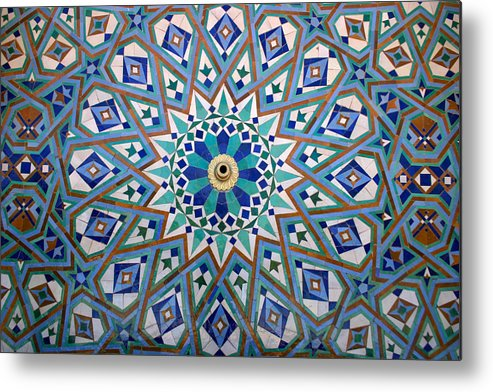 Water Fountain Metal Print featuring the photograph Traditional Islamic Zeliji around a Water Fountain by PIXELS XPOSED Ralph A Ledergerber Photography