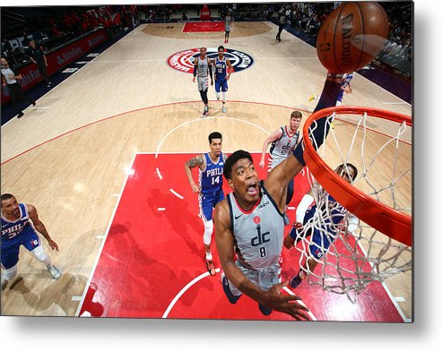 Playoffs Metal Print featuring the photograph 2021 NBA Playoffs - Philadelphia 76ers v Washington Wizards by Stephen Gosling