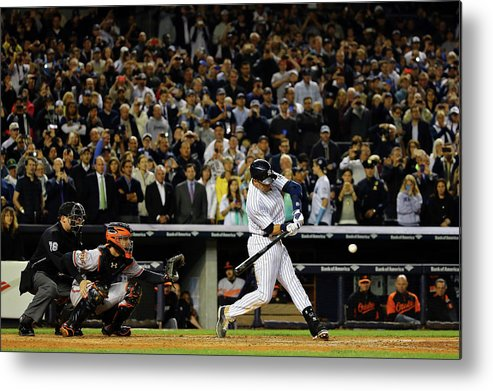 American League Baseball Metal Print featuring the photograph Derek Jeter by Al Bello
