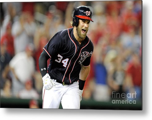 Three Quarter Length Metal Print featuring the photograph Bryce Harper by Greg Fiume