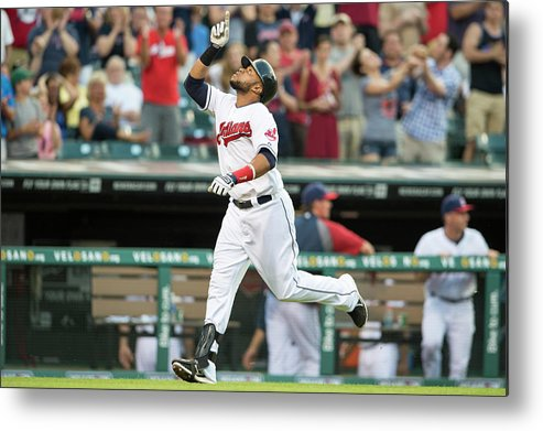 American League Baseball Metal Print featuring the photograph Carlos Santana by Jason Miller