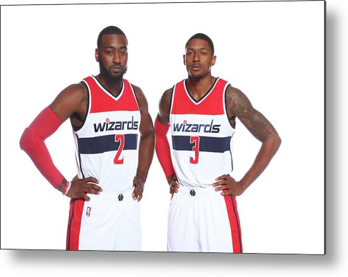 Nba Pro Basketball Metal Print featuring the photograph John Wall and Bradley Beal by Ned Dishman