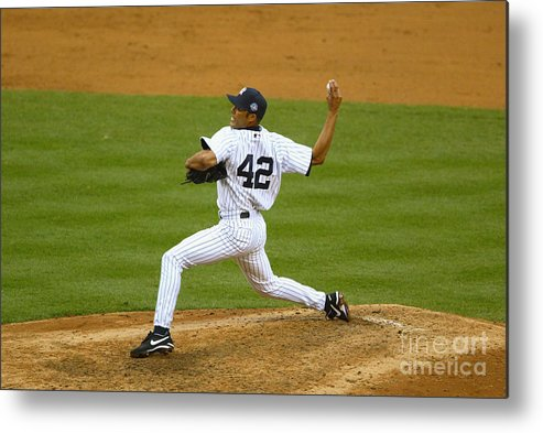 American League Baseball Metal Print featuring the photograph Mariano Rivera by Al Bello