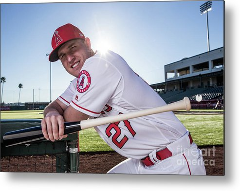 Media Day Metal Print featuring the photograph Mike Trout by Rob Tringali