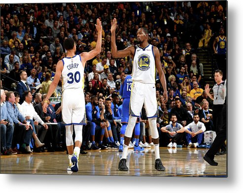 Nba Pro Basketball Metal Print featuring the photograph Stephen Curry and Kevin Durant by Noah Graham